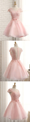 Newest Pink Lace Cap Sleeve A-line Yarn Back With Bow Sash Pretty Junior Homecoming Prom Dress,BD0140