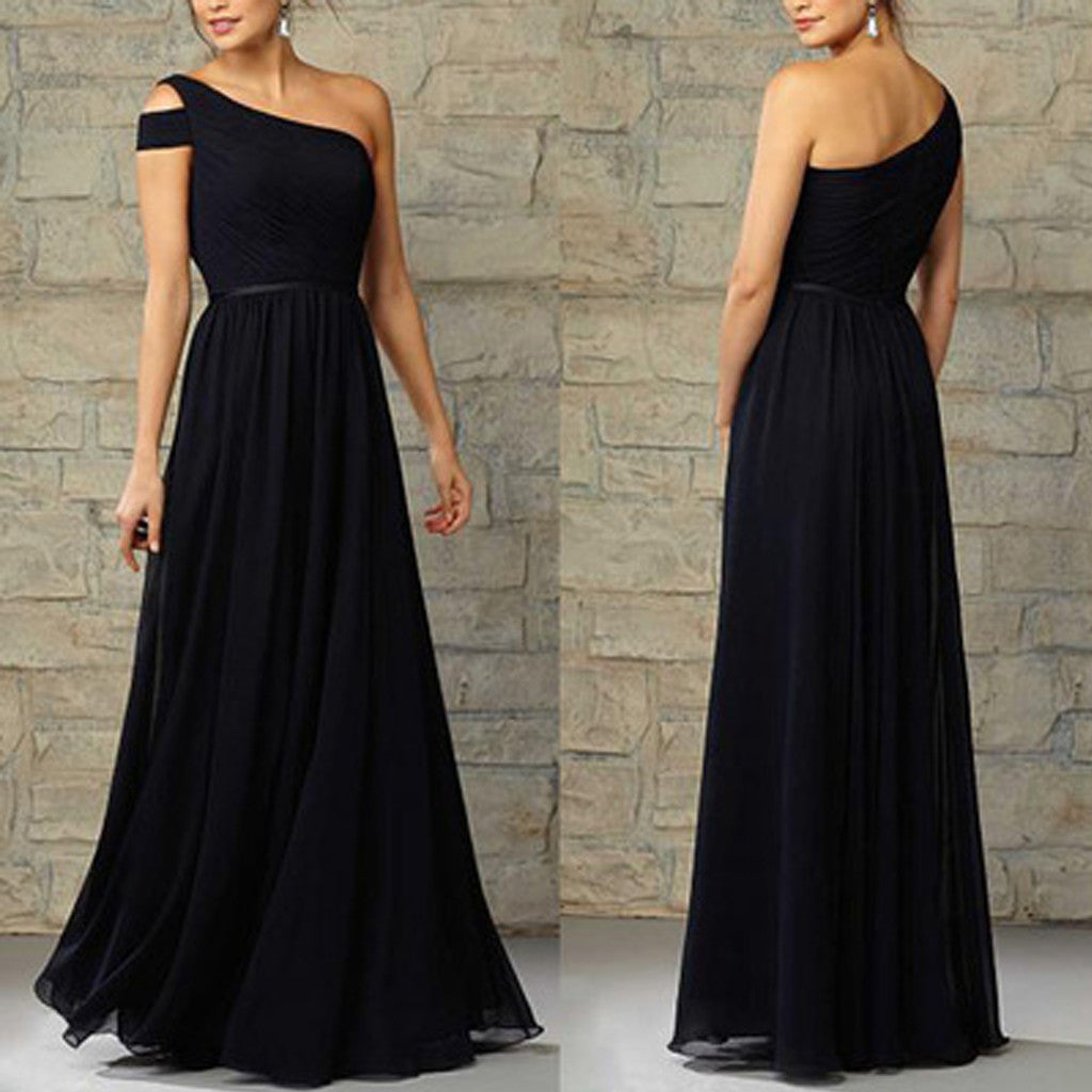 Cheap Formal Elegant Chiffon One Shoulder Floor-Length Navy Blue Bridesmaid Dresses, WG12