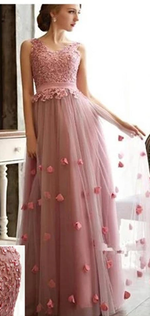 Charming Scoop Neck Tulle With Appliques Lace Up Back Prom Dresses,PD0090