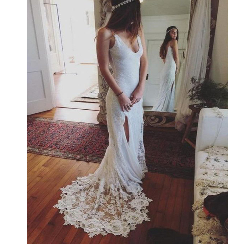 Popular Simple Spaghetti Strap Scoop Neck Open Back Slip Side Long Lace Train Beach Wedding Party Dresses. WD0222