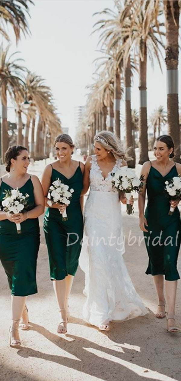Sexy V-neck Knee Length Bridesmaid Dresses.DB10464