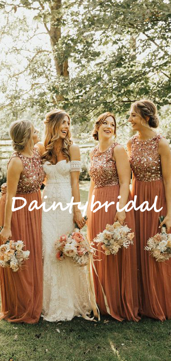 Simple Round Neck Sequin Tulle Floor-length Sleeveless Evening Dresses Bridesmaid Dresses.DB10719