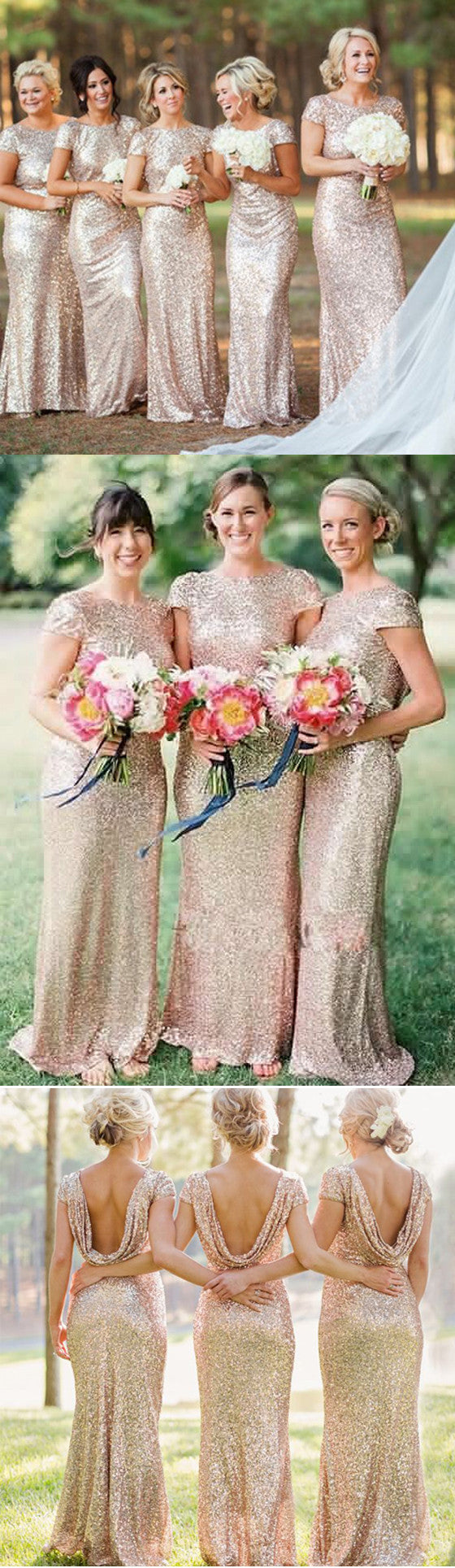 Most popular mermaid short sleeve Cowl Sparkly Full gold sequin long Floor Length  Bridesmaid Dresses, WG04