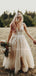 New Arrival V-neck Lace Tulle Sleeveless A-line Long Wedding Dresses.DB10474