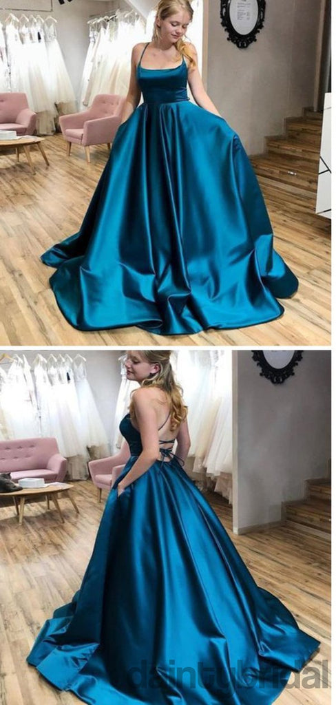 Simple Blue Ball Gown Elastic Silk Lace Up Back Long Prom Dress.DB10022