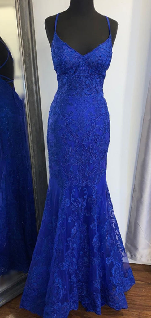 Sexy V-neck Lace Mermaid Prom Dresses Evening Dresses.DB10243