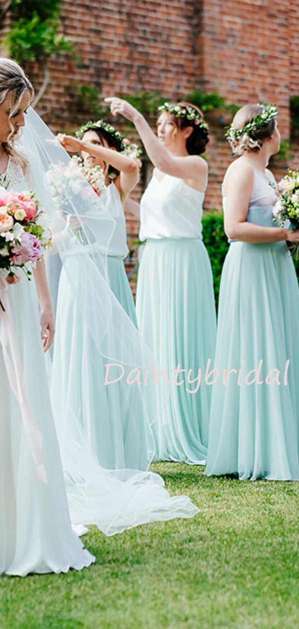 Gogerous Spaghetti Strap Chiffon Floor-length Beautifule Long Bridesmaid Dresses.DB10629