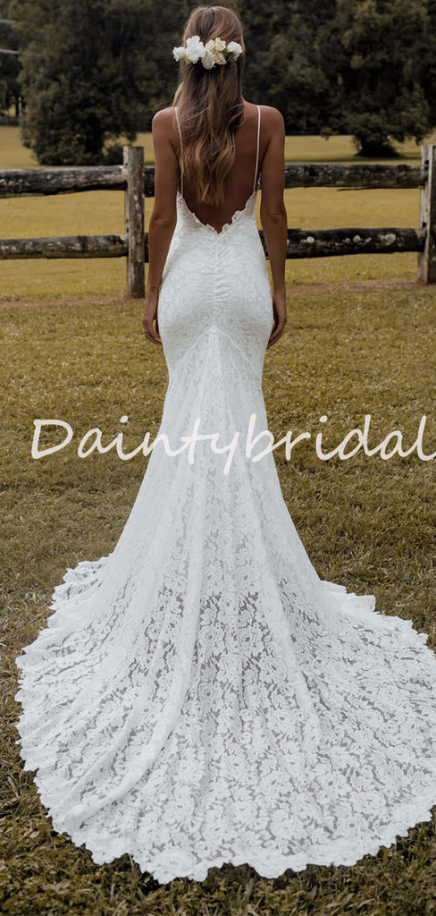 Sexy Simple Mermaid V-neck Lace Spaghetti Strap Long Wedding Dresses Evening Dresses.DB10712