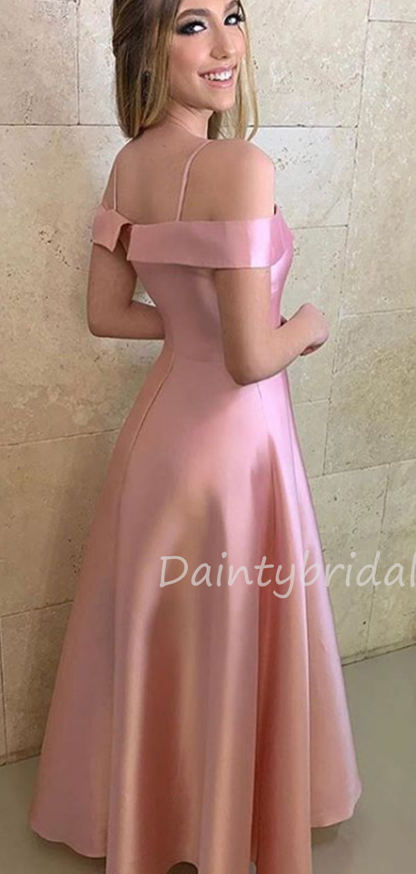 Charming Off-shoulder Floor Length Satin A-line Long Prom Dresses Evening Dresses.DB10443