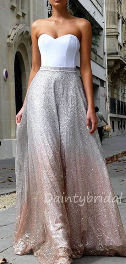 Charming Sweetheart Sequin A-line Long Evening Prom Dresses.DB10394