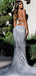 Sexy Sweetheat Sequin Side Slit Mermaid Open Back Long Prom Dresses Evening Dresses.DB10504