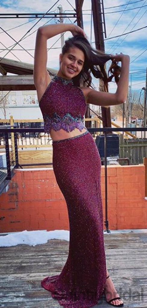 Halter Mermaid  Sequin Two Piece Long Prom Dresses. DB10275