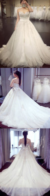 Vintage Princess Strapless Sweetheart Lace Beads Large Chiffon Train Ball Gown  Wedding Dresses. WD0262