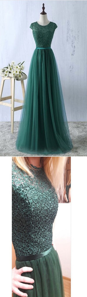 Elegant Cap Sleeve Round Neck Green Lace Tulle A-line  Vintage Formal Long Party Prom Dress. DB071