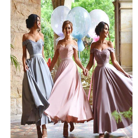 2017 New Arrival Off the Shoulder Floor-length Wedding party Bridesmaid dress. BD210