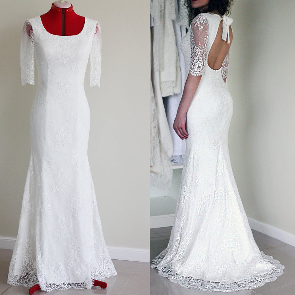 Popular Half Sleeve Sexy Long Mermaid Scoop Neck Open Back White Lace Wedding Party Dress, WD0041