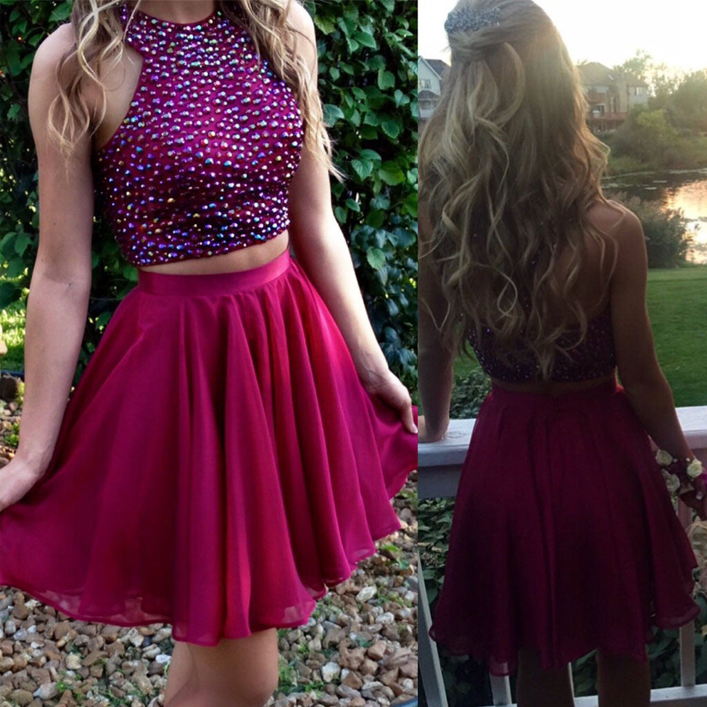 Two Pieces Bare-midriff Sparkly Beads Halter Lovely For Teen Chiffon Short Homecoming Prom Dress,BD0042