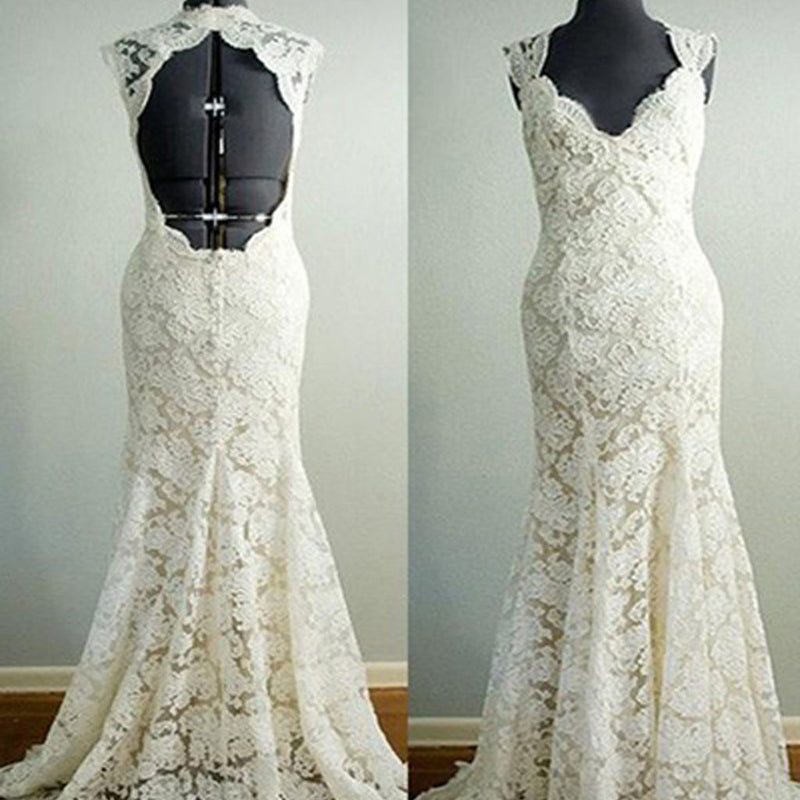 Vintage Beige Lace Open Back Queen Anne Long Column Full Lace Sweep Trailing Wedding Party Dresses, WD0042