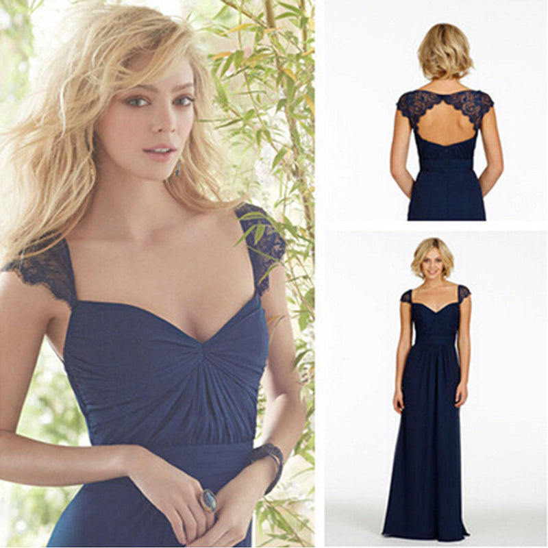 Lace Cap Sleeve Queen Anne Open Back Sweetheart Chiffon Navy Blue Long Bridesmaid Dresses, WG43