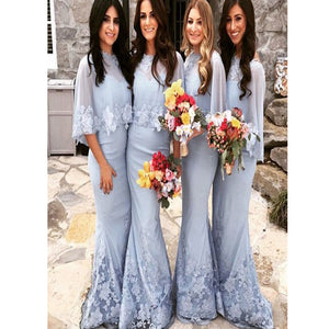 Elegant Blue Tulle Shawl Mermaid Winter Lace Floor Length Wedding Party  Modest Bridesmaid Dress. BD0215