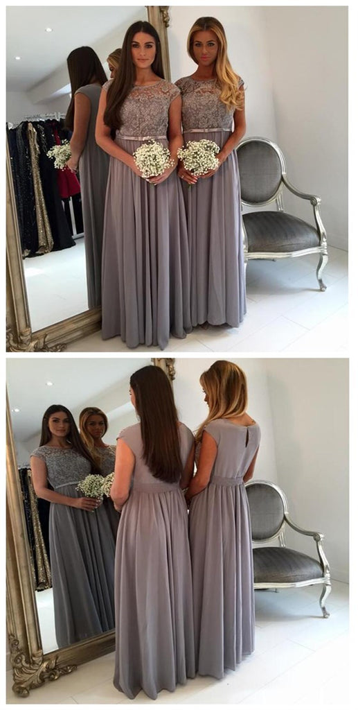 Vintage Cap Sleeve Lace A Line Grey Floor-Length Chiffon Wedding Guest Bridesmaid Dresses For Maid of Honor, WG44