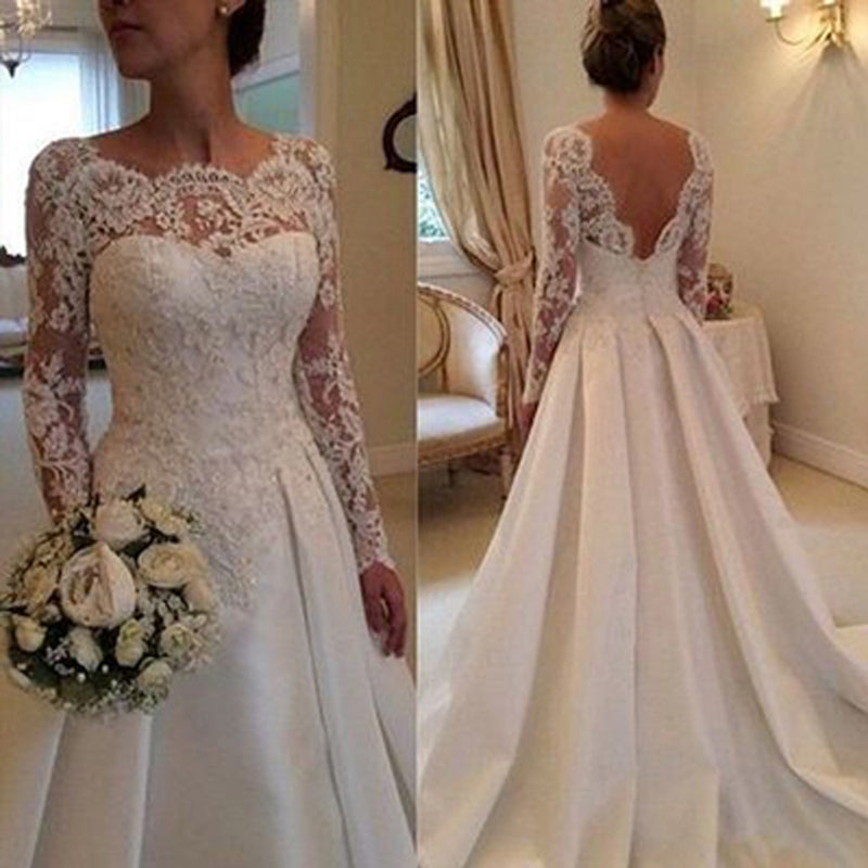 Long A-line Bateau Neck V-back  Long Sleeve Clairvoyant Outfit Lace Top Satin Wedding Party Dresses, WD0043