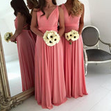 Simple Cheap Jersey Column Convertible Criss-Cross Back Sexy V-neck Sleeveless Long Bridesmaid dresses, WG45