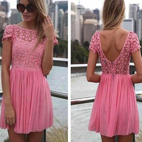 Peach Pink Clairvoyant Outfit Lace Short Sleeve Deep V Back Mini Homecoming Prom Dress,BD0046