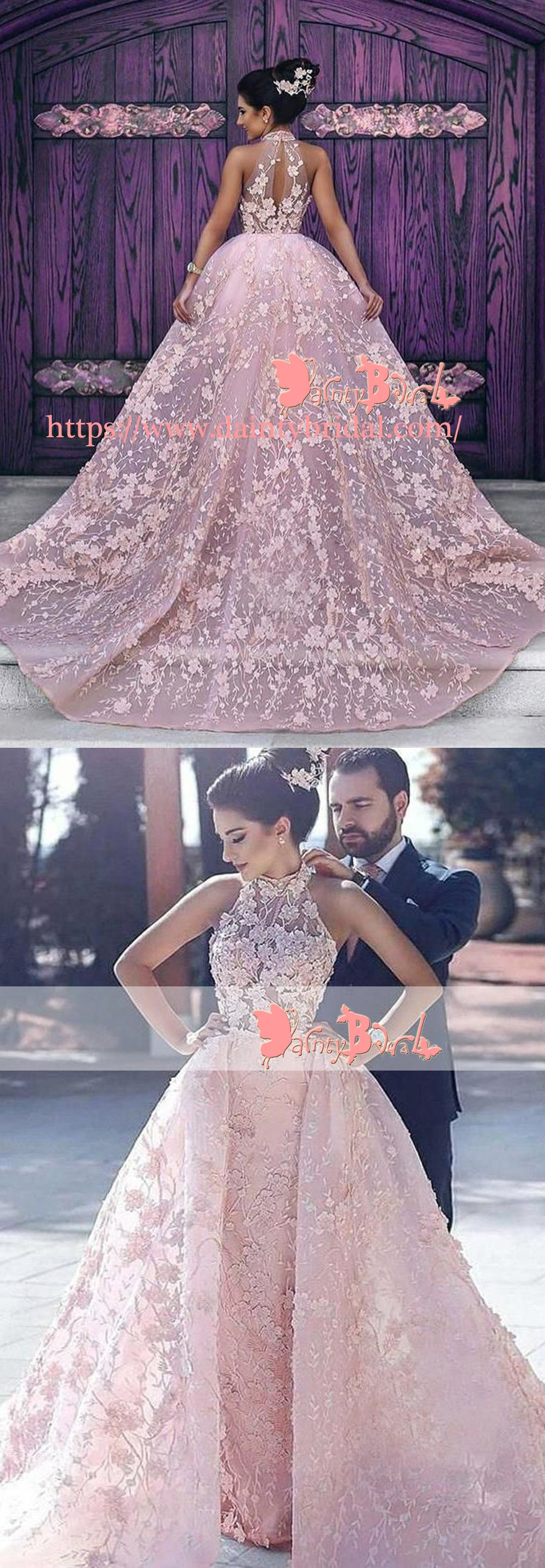 00e7f6e4c1 Blush Pink Lace Appliques High Neck Sleeveless Gorgeous Princess Ball Gown  Prom Dresses. DB1051