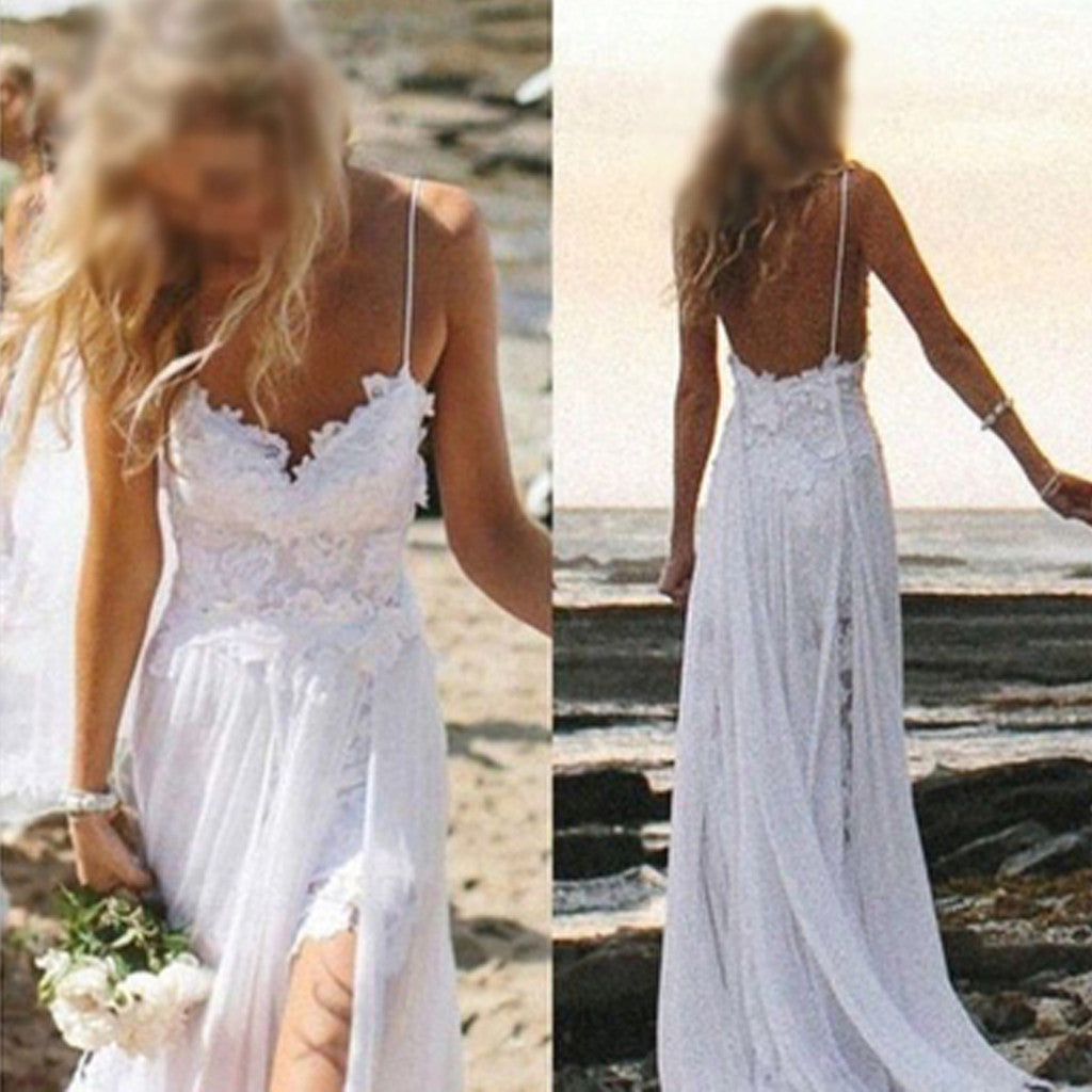 Simple Summer Spaghetti Strap Backless White Lace  Appliques Split Side  Wedding Dresses For Beach Wedding, WD0047
