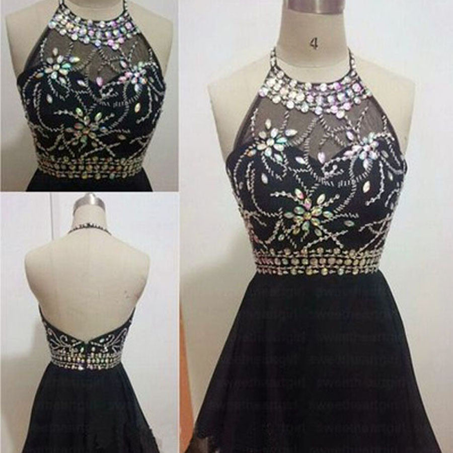 Cheap Sexy Black Halter Rhinestone Clairvoyant Outfit Open Back Mini  Homecoming Prom Dress,BD0048