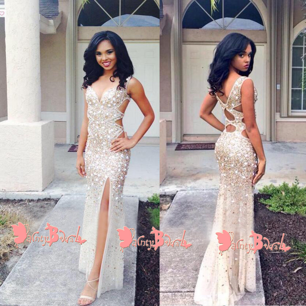 Stunning Sparkly Rhinestone Gold Sequins With High Side Split Sexy Party Prom Dresses. DB1050