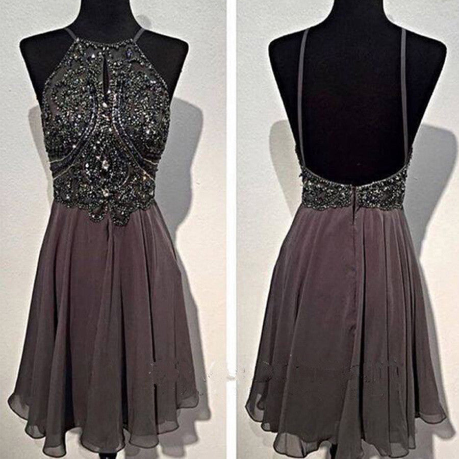 Sexy Dark Grey Halter Spaghetti Strap Sparkly Rhinestone Open Back  Chiffon Homecoming Prom Dress,BD0049