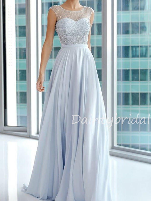 Charming Chiffon Tulle Long Prom Dresses Evening Dresses With Train.DB10534