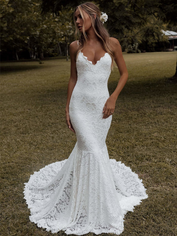 Sexy Straight Off-shoulder Lace Mermaid With Train Long Wedding Dresses.DB10644