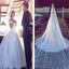Luxurious Off Shoulder Large Tulle Train Open V-back  Appliques Ball Gown Wedding Dress, WD0135