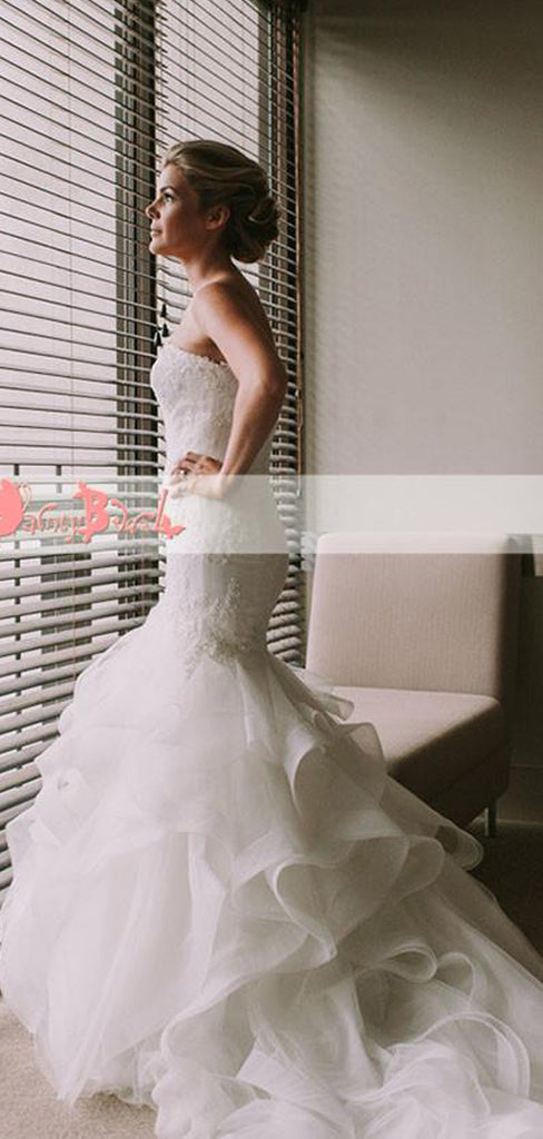 Popular Sweetheart Strapless Lace Top Ruffles Mermaid Formal Wedding Dresses,DB0123