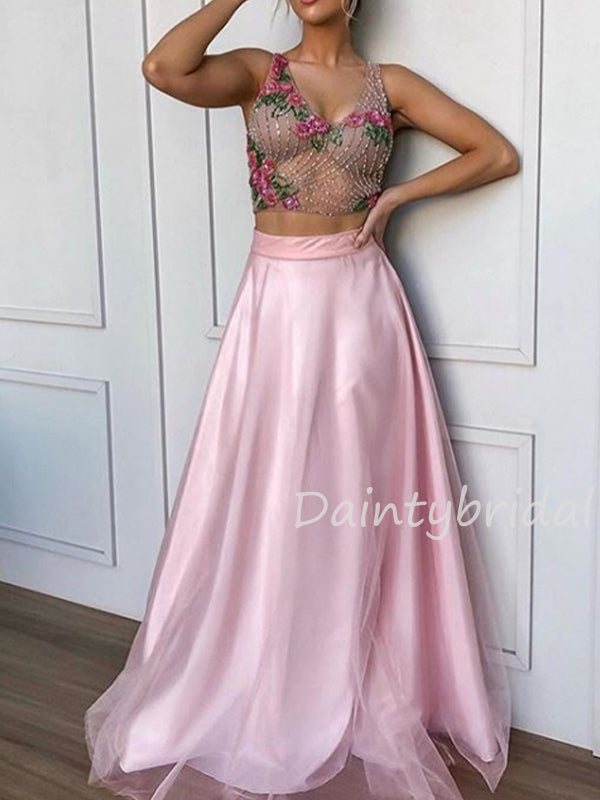 Sexy V-neck A-line Tulle Two Piece Long Prom Dresses Evening Dresses.DB10434