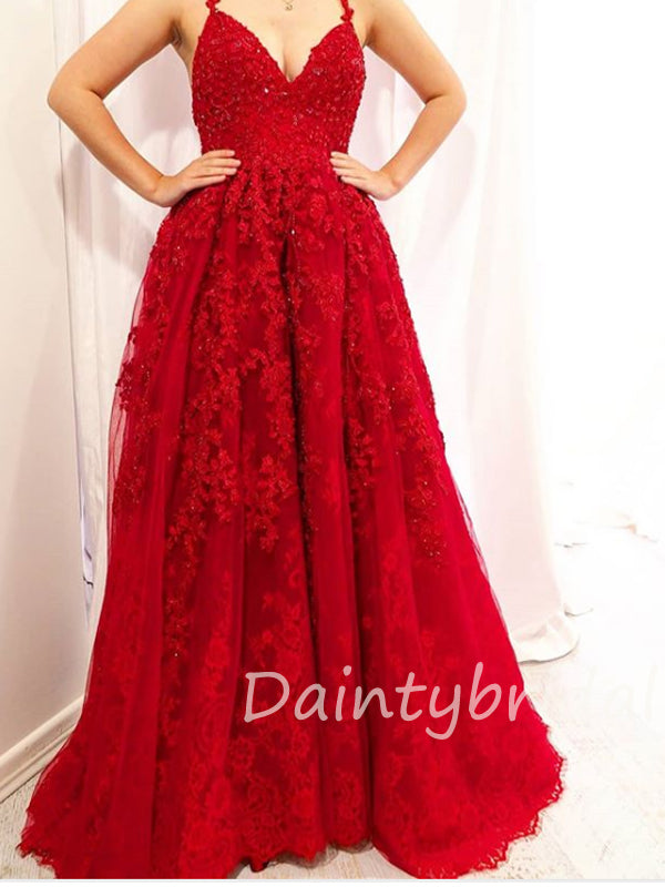 Charming V-neck A-line Lace Open Back Long Prom Dresses Evening Dresses.DB10413