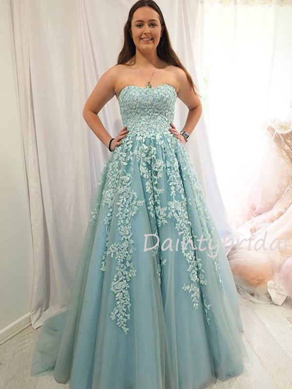 Sexy Straight Tulle With Appliques A-line Long Prom Dresses Evening Dresses.DB10454