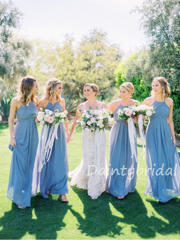 Charming Sleeveless A-line Chiffon Floor Length Long Bridesmaid Dresses.DB10424