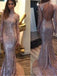 Long Sleeves Sequined High Neck Open Back Sparkly Mermaid Sweep Trailing Custom Party Prom Dresses,PD0174