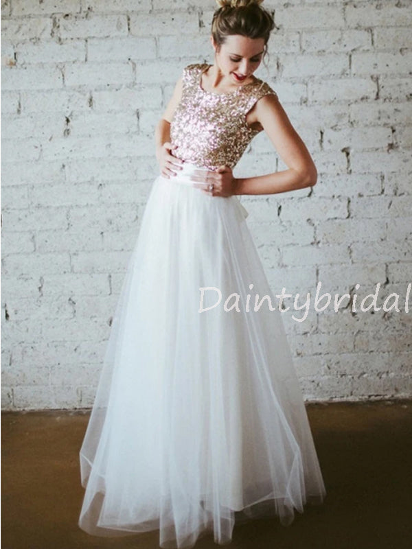 New Arrival Sleeveless Sequin Tulle Floor Length Long Bridesmaid Dresses.DB10564