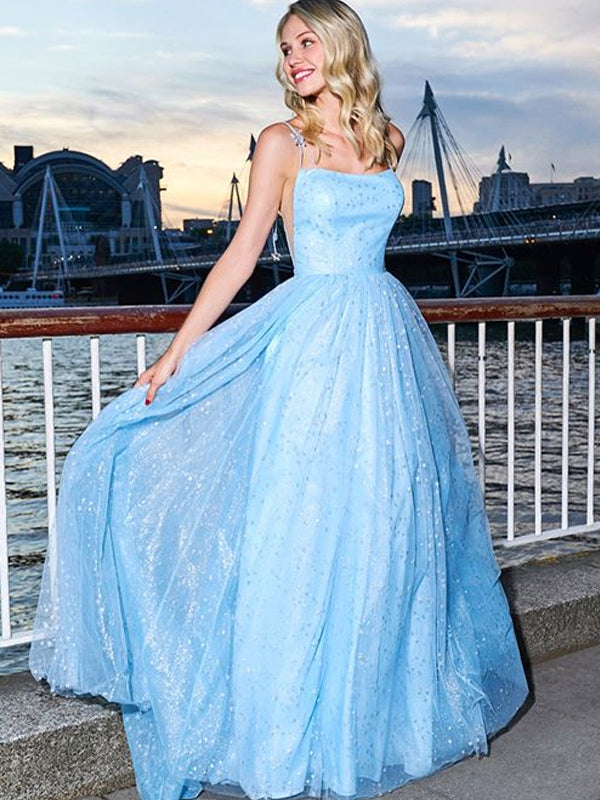 Charming Spaghetti Strap V-neck Tulle  A-line Long Prom Dresses Evening Dresses.DB10614