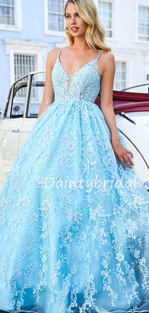 Charming Spaghetti Strap V-neck Tulle Lace A-line Long Prom Dresses Evening Dresses.DB10615