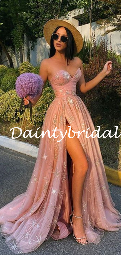 Sexy Sweetheart Side Slit Tulle Lace A-line Prom Dresses Evening Dresses.DB10800