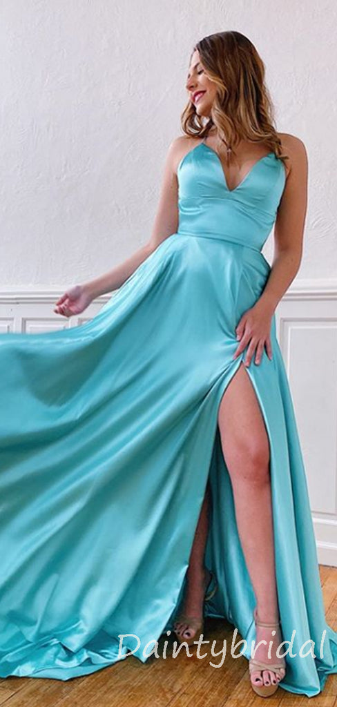 Charming V-neck A-line Open Back Long Prom Dresses Evening Dresses.DB10365