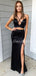 Mermaid Side Slit Satin Long Evening Dresses Prom Dresses.DB10515
