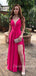 Charming V-neck Floor Length Side Slit Long Prom Dresses Evening Dresses.DB10355