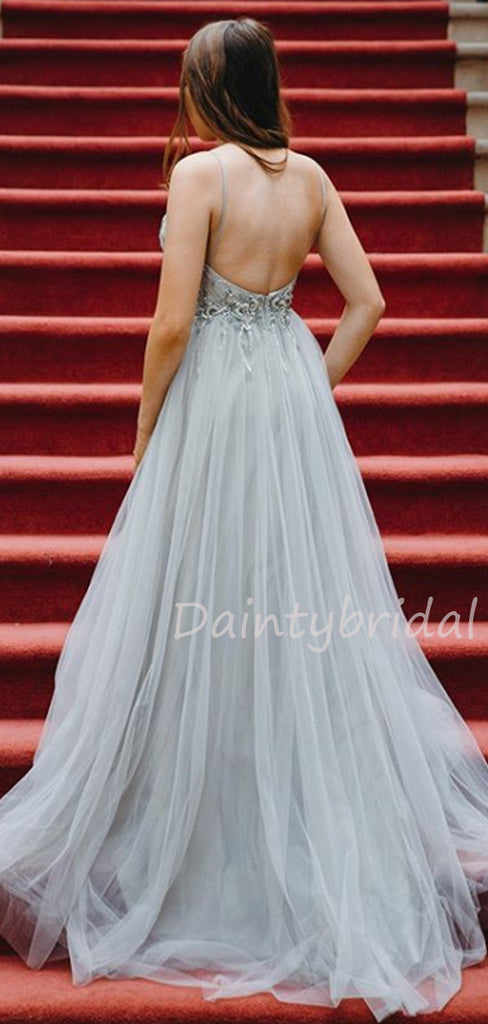 Sexy V-neck Tulle  A-line Long Prom Dresses Evening Dresses.DB10455